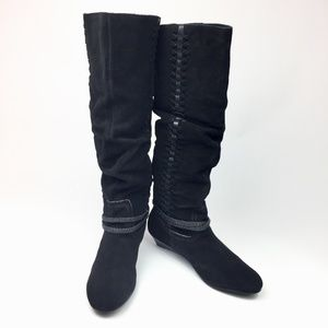 Bakers Slouchy Suede Western Tall Wedge Boots